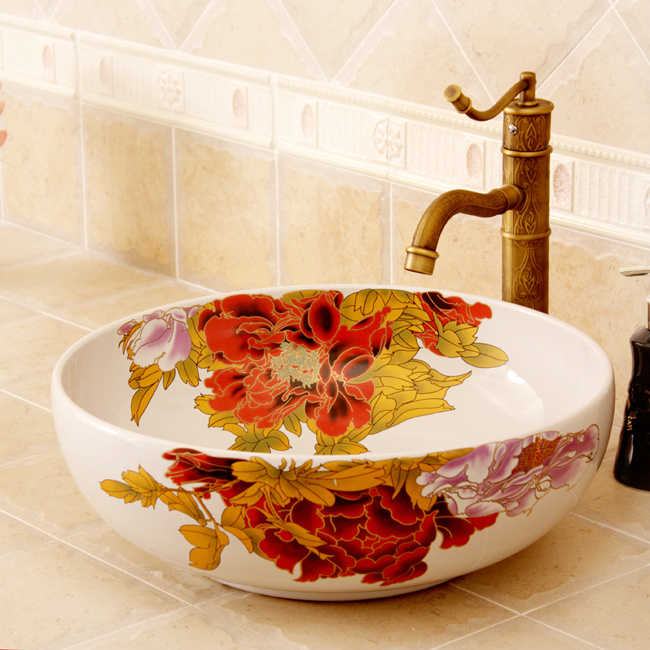 RYXW360_8 5 Colored with floral butterfly design Ceramic colored decorative sink bowls - shengjiang  ceramic  factory   porcelain art hand basin wash sink
