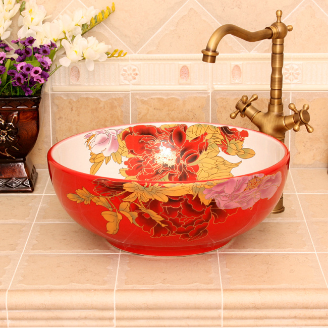 RYXW361_2 5 Colored with floral butterfly design Ceramic colored decorative sink bowls - shengjiang  ceramic  factory   porcelain art hand basin wash sink