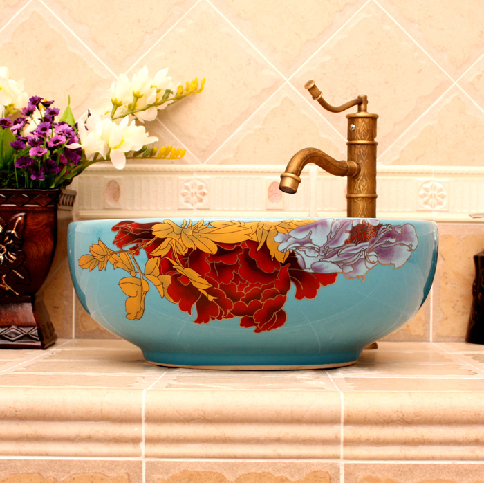 RYXW362_5 5 Colored with floral butterfly design Ceramic colored decorative sink bowls - shengjiang  ceramic  factory   porcelain art hand basin wash sink