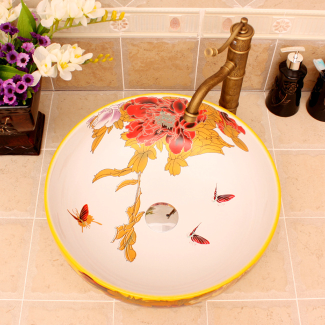 RYXW363_4 5 Colored with floral butterfly design Ceramic colored decorative sink bowls - shengjiang  ceramic  factory   porcelain art hand basin wash sink