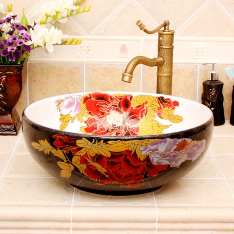 5 Colored with floral butterfly design Ceramic colored decorative sink bowls