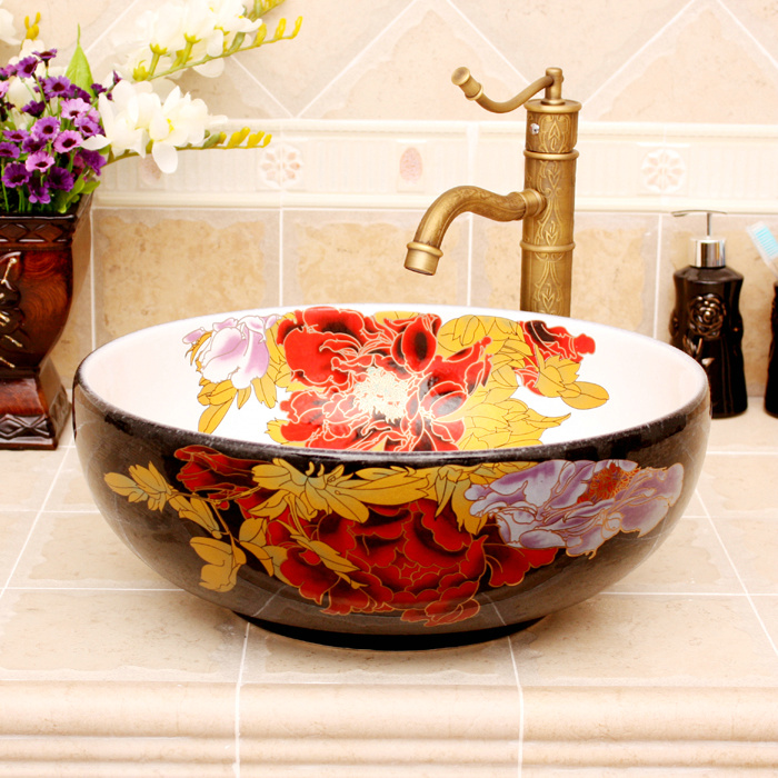 RYXW364_2 5 Colored with floral butterfly design Ceramic colored decorative sink bowls - shengjiang  ceramic  factory   porcelain art hand basin wash sink