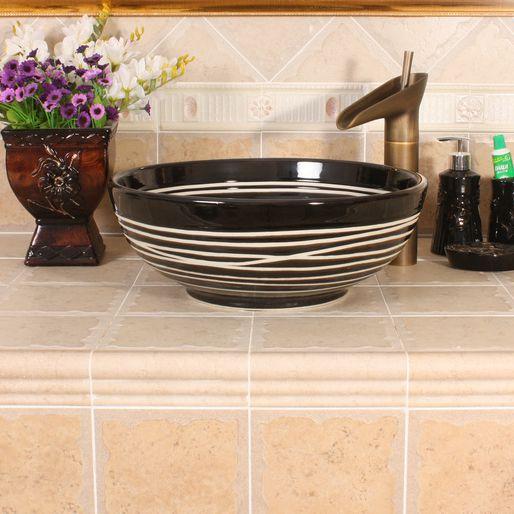 RYXW380_2 RYXW380/386 Modern black white stripe design Ceramic sink for bathroom - shengjiang  ceramic  factory   porcelain art hand basin wash sink