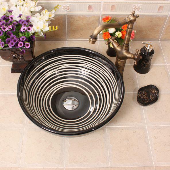 RYXW380_6 RYXW380/386 Modern black white stripe design Ceramic sink for bathroom - shengjiang  ceramic  factory   porcelain art hand basin wash sink