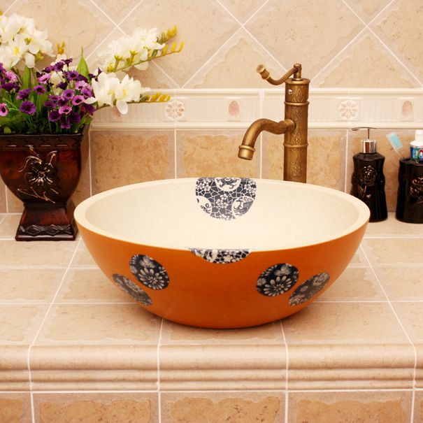 RYXW381_1 Modern floral design Ceramic basin for washing clothes - shengjiang  ceramic  factory   porcelain art hand basin wash sink