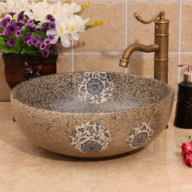 RYXW383_1 Modern floral design Ceramic basin for washing clothes - shengjiang  ceramic  factory   porcelain art hand basin wash sink