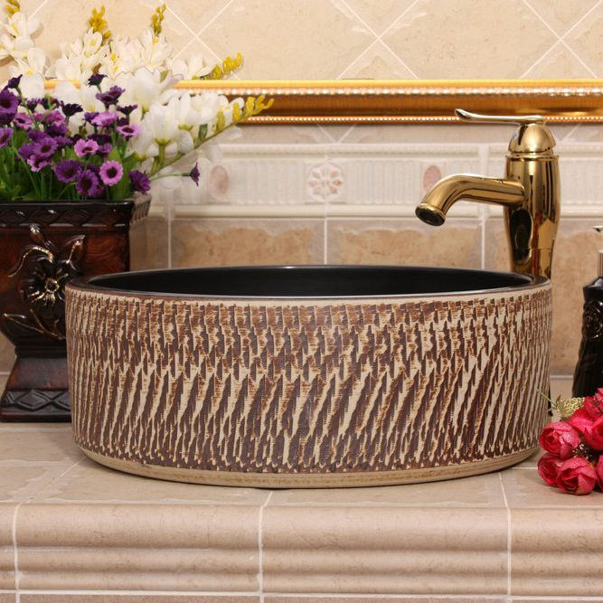 RYXW385_3 RYXW385/387 Modern carved brown color design Ceramic outdoor washbain China - shengjiang  ceramic  factory   porcelain art hand basin wash sink