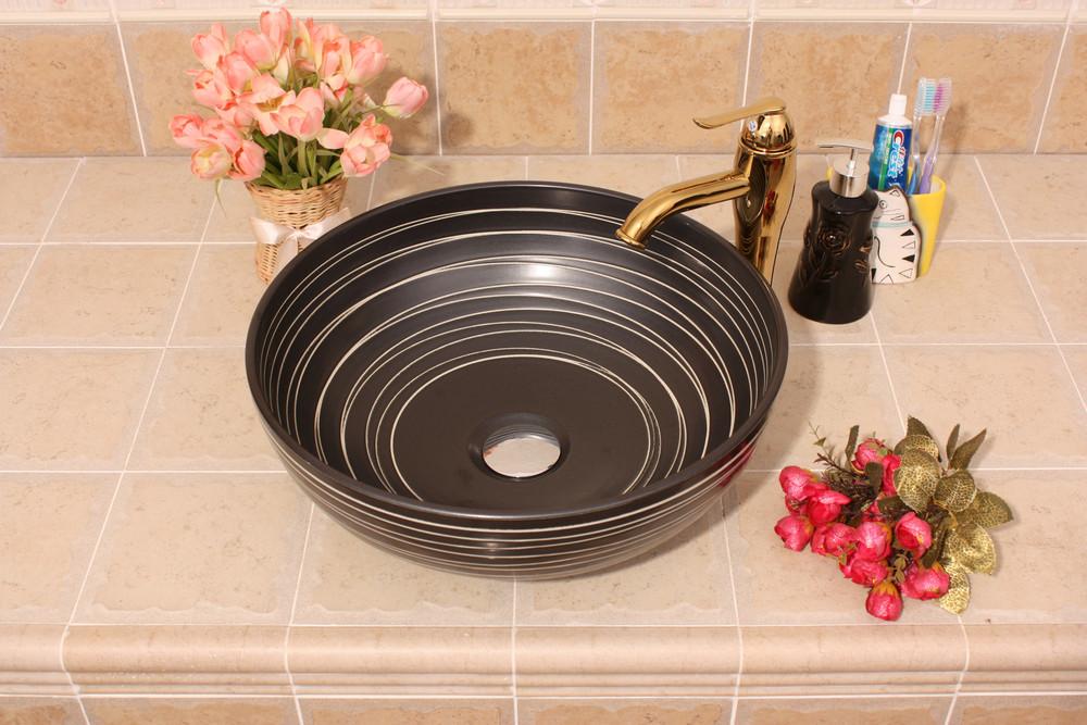 RYXW386_2 RYXW380/386 Modern black white stripe design Ceramic sink for bathroom - shengjiang  ceramic  factory   porcelain art hand basin wash sink