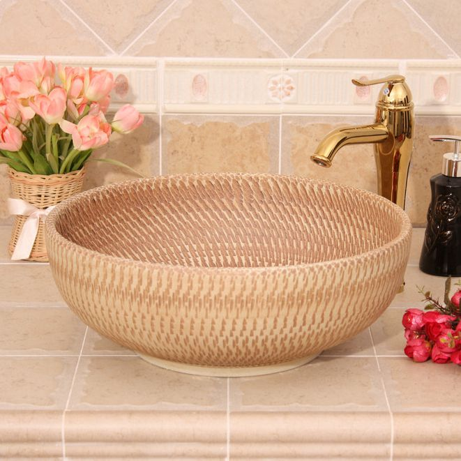 RYXW387_1 RYXW385/387 Modern carved brown color design Ceramic outdoor washbain China - shengjiang  ceramic  factory   porcelain art hand basin wash sink