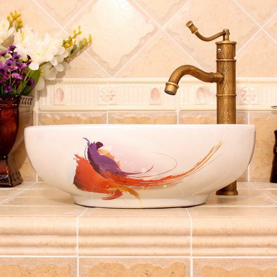 RYXW390_3 RYXW390 Modern white pattern design Ceramic outdoor sink - shengjiang  ceramic  factory   porcelain art hand basin wash sink