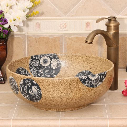 RYXW391_2 Modern floral design Ceramic basin for washing clothes - shengjiang  ceramic  factory   porcelain art hand basin wash sink