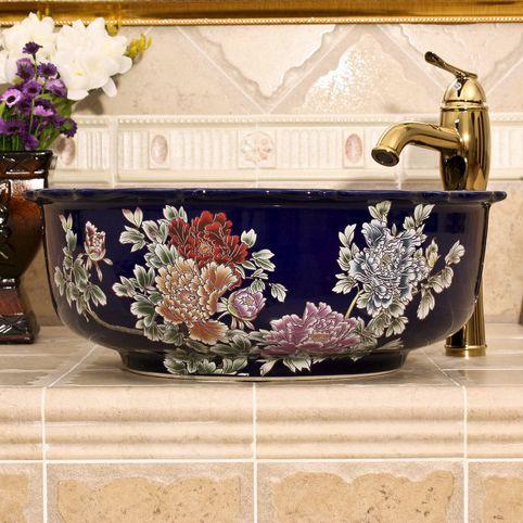 RYXW430_1 blue red and black with Flower design Ceramic flower wash basin - shengjiang  ceramic  factory   porcelain art hand basin wash sink
