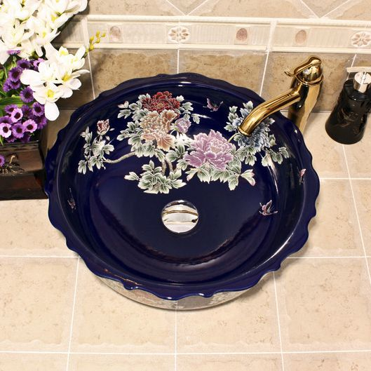 RYXW430_4 blue red and black with Flower design Ceramic flower wash basin - shengjiang  ceramic  factory   porcelain art hand basin wash sink