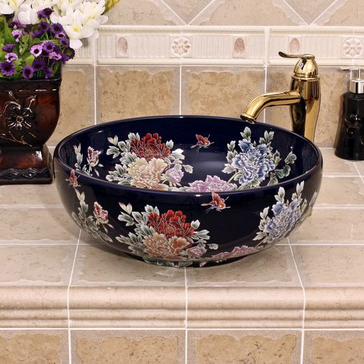 RYXW431_1 5 solid colors with Flower design Ceramic bathroom cabinet sink - shengjiang  ceramic  factory   porcelain art hand basin wash sink