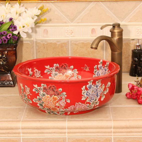 RYXW433_3 blue red and black with Flower design Ceramic flower wash basin - shengjiang  ceramic  factory   porcelain art hand basin wash sink
