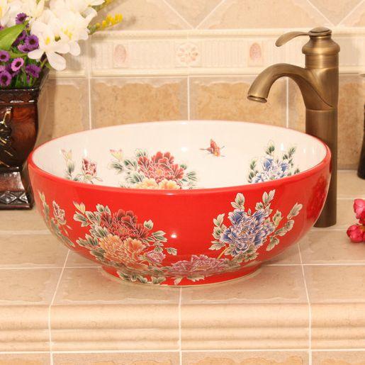 RYXW434_7 5 solid colors with Flower design Ceramic bathroom cabinet sink - shengjiang  ceramic  factory   porcelain art hand basin wash sink