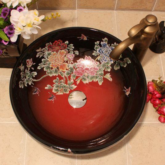RYXW435_4 5 solid colors with Flower design Ceramic bathroom cabinet sink - shengjiang  ceramic  factory   porcelain art hand basin wash sink