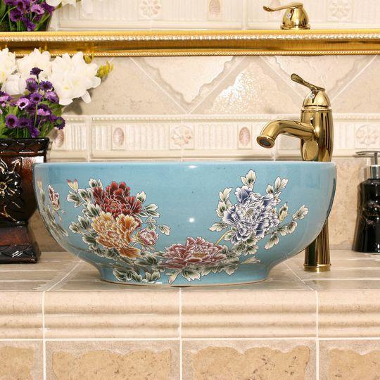 RYXW436_1 5 solid colors with Flower design Ceramic bathroom cabinet sink - shengjiang  ceramic  factory   porcelain art hand basin wash sink