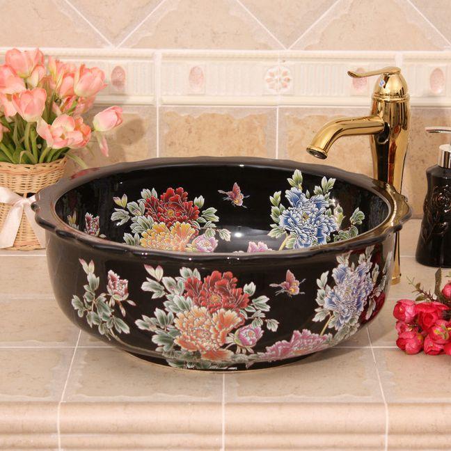 RYXW438_1 blue red and black with Flower design Ceramic flower wash basin - shengjiang  ceramic  factory   porcelain art hand basin wash sink