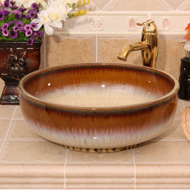 RYXW450_1 4 colors transmutation glazed design Ceramic toilet basin combination - shengjiang  ceramic  factory   porcelain art hand basin wash sink
