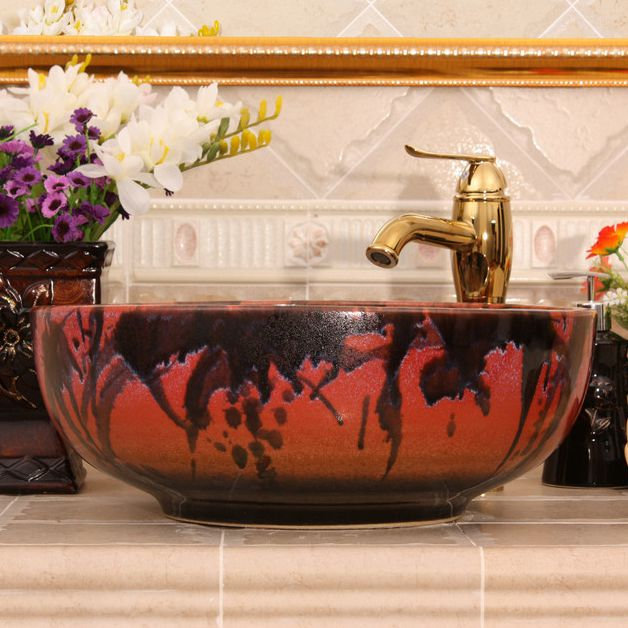 RYXW452_4 RYXW452 Transmutation color glazed Ceramic hand wash basin - shengjiang  ceramic  factory   porcelain art hand basin wash sink