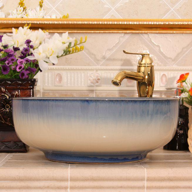 RYXW453_4 4 colors transmutation glazed design Ceramic toilet basin combination - shengjiang  ceramic  factory   porcelain art hand basin wash sink