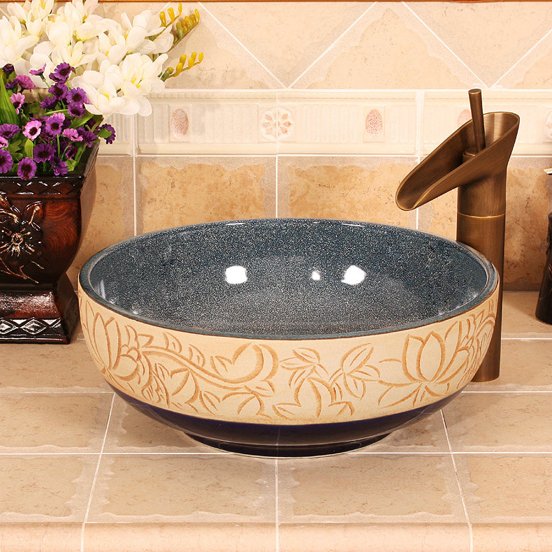 RYXW464_1 RYXW464 Inside glazed with carved floral design Ceramic hair salon wash basins - shengjiang  ceramic  factory   porcelain art hand basin wash sink