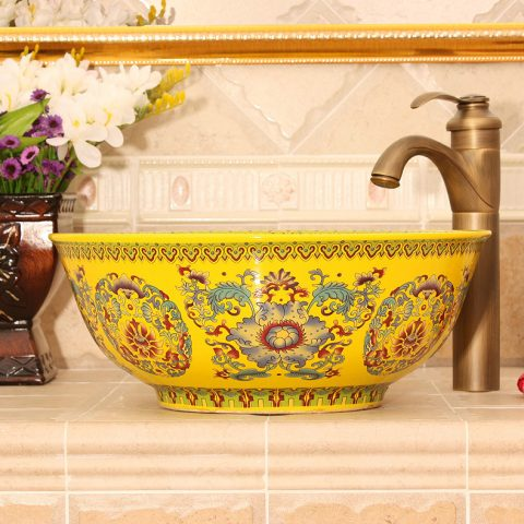 RYXW488 Yellow Floral design Ceramic bathroom corner sink