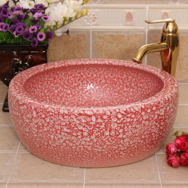RYXW511_1 Color glazed Ceramic wash basin size 16″ - shengjiang  ceramic  factory   porcelain art hand basin wash sink