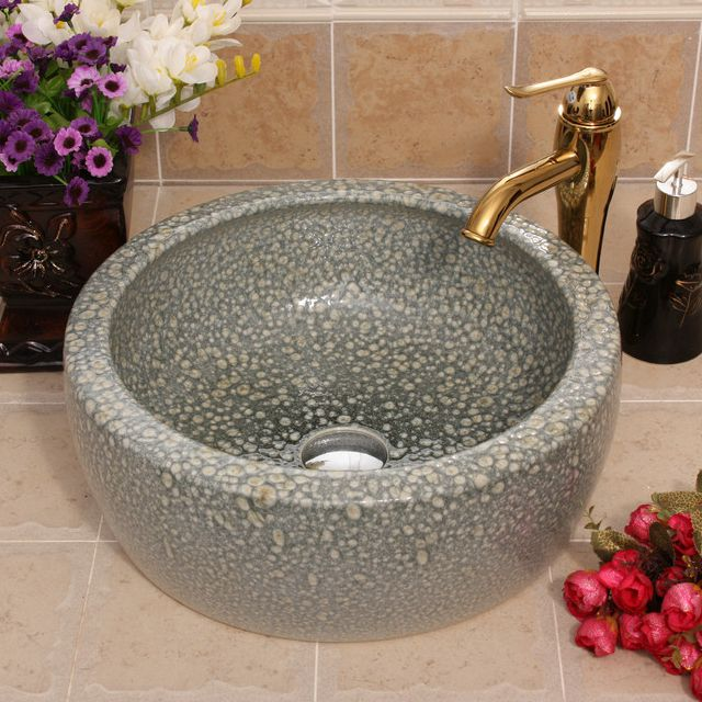 RYXW514_2 Color glazed Ceramic wash basin size 16″ - shengjiang  ceramic  factory   porcelain art hand basin wash sink