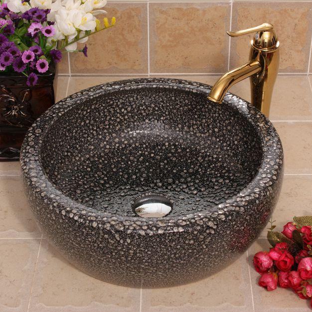 RYXW517_2 Color glazed Ceramic wash basin size 16″ - shengjiang  ceramic  factory   porcelain art hand basin wash sink