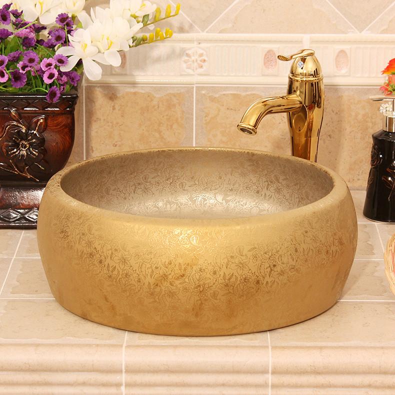 RYXW529_1 Matte gold flower design bathroom basins - shengjiang  ceramic  factory   porcelain art hand basin wash sink