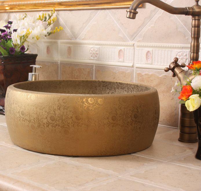 RYXW530_6 Matte gold flower design bathroom basins - shengjiang  ceramic  factory   porcelain art hand basin wash sink