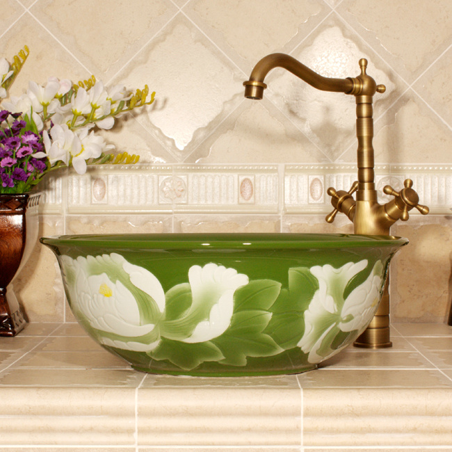 RYXW543_2 Color glazed with carved flower 3 design bathroom fancy wash basin - shengjiang  ceramic  factory   porcelain art hand basin wash sink