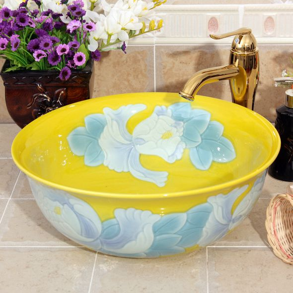 RYXW545_1 Color glazed with carved flower 3 design bathroom fancy wash basin - shengjiang  ceramic  factory   porcelain art hand basin wash sink