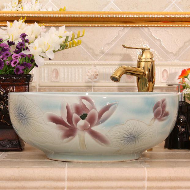 RYXW546_4 RYXW546 Color glazed with carved flower design bathroom sanitaryware - shengjiang  ceramic  factory   porcelain art hand basin wash sink