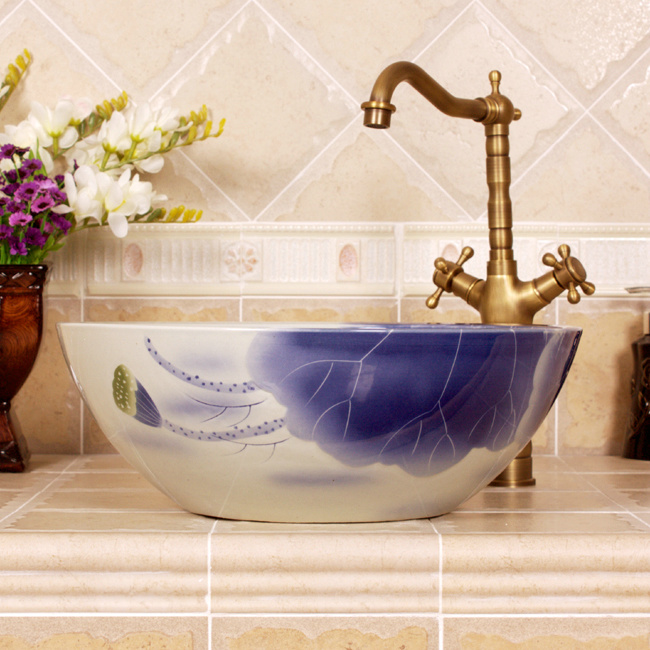 RYXW547_3 RYXW547 Blue flower design bathroom sanitaryware - shengjiang  ceramic  factory   porcelain art hand basin wash sink