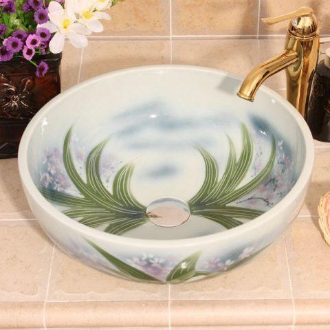 RYXW552 Flower design ceramic small vessel sinks