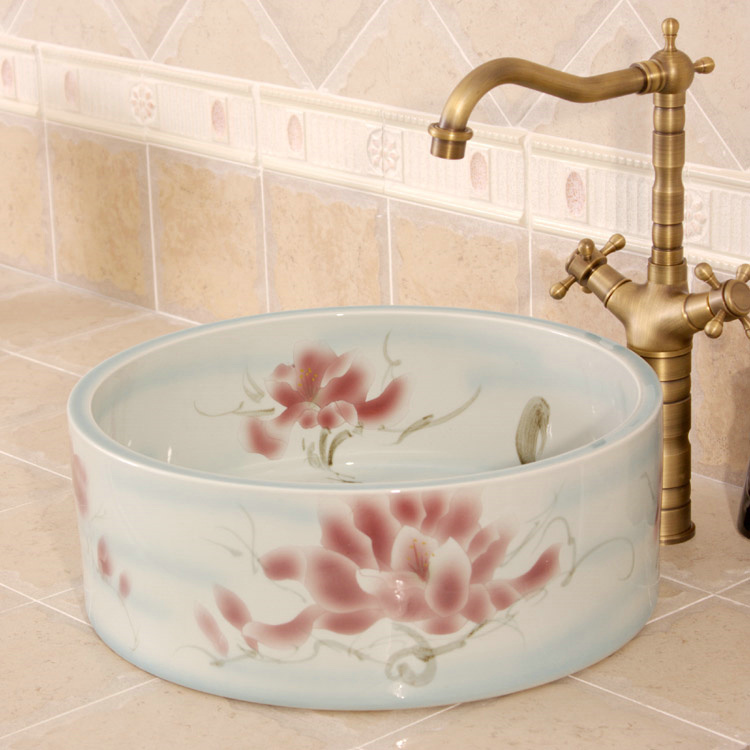 RYXW561_6 RYXW561 Flower design Ceramic garden outdoor sink - shengjiang  ceramic  factory   porcelain art hand basin wash sink