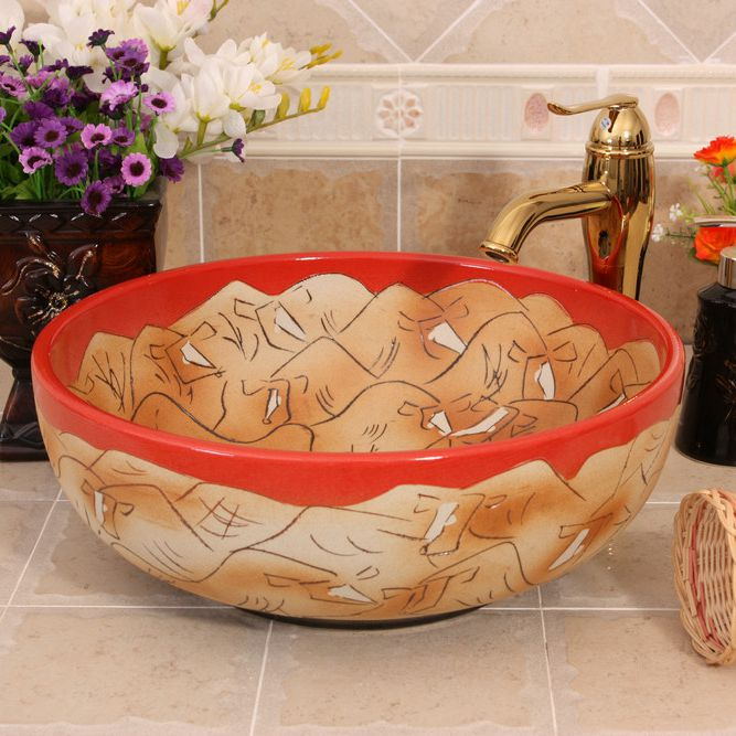 RYXW570_3 RYXW570 Carved design wash sink laundry - shengjiang  ceramic  factory   porcelain art hand basin wash sink