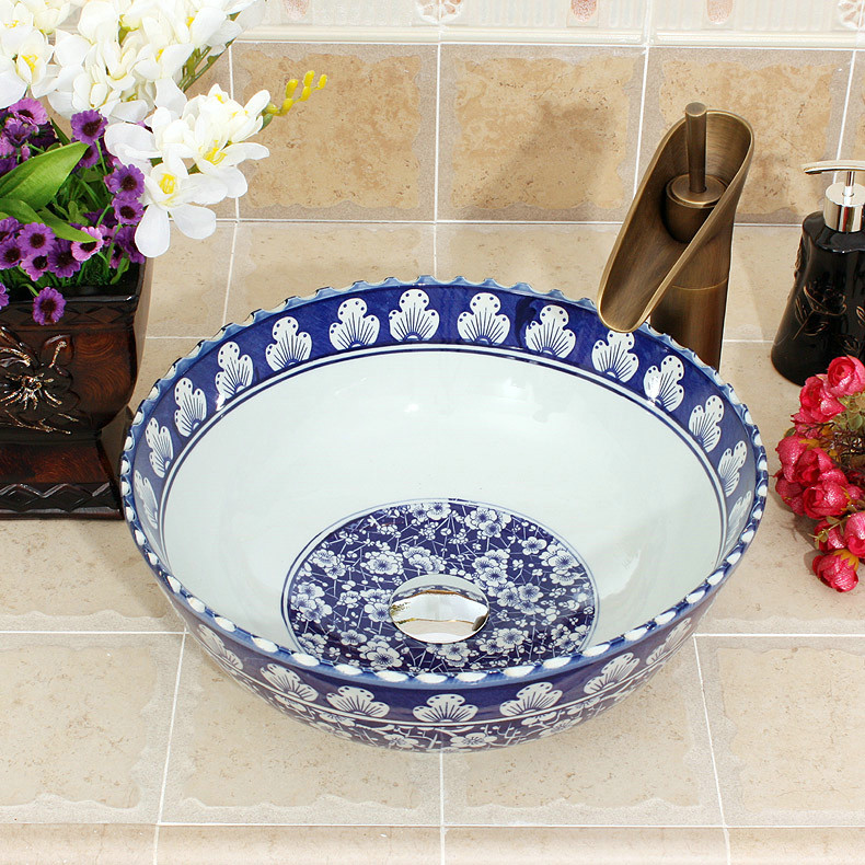 ... RYXW602_4 RYXW602 Ceramic Blue White China Vessel Sink Lavatory    Shengjiang Ceramic Factory Porcelain Art Hand