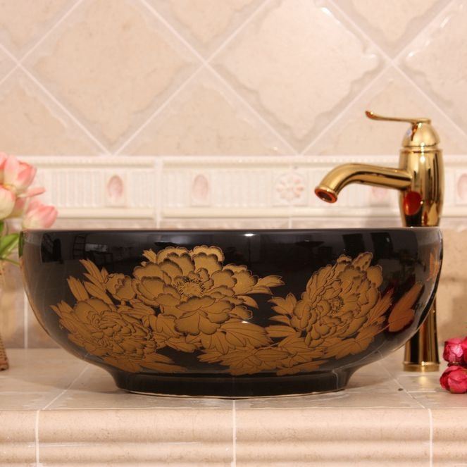 Dark Blue And Black With Gold Flower Design Oval Ceramic Vessel Sink