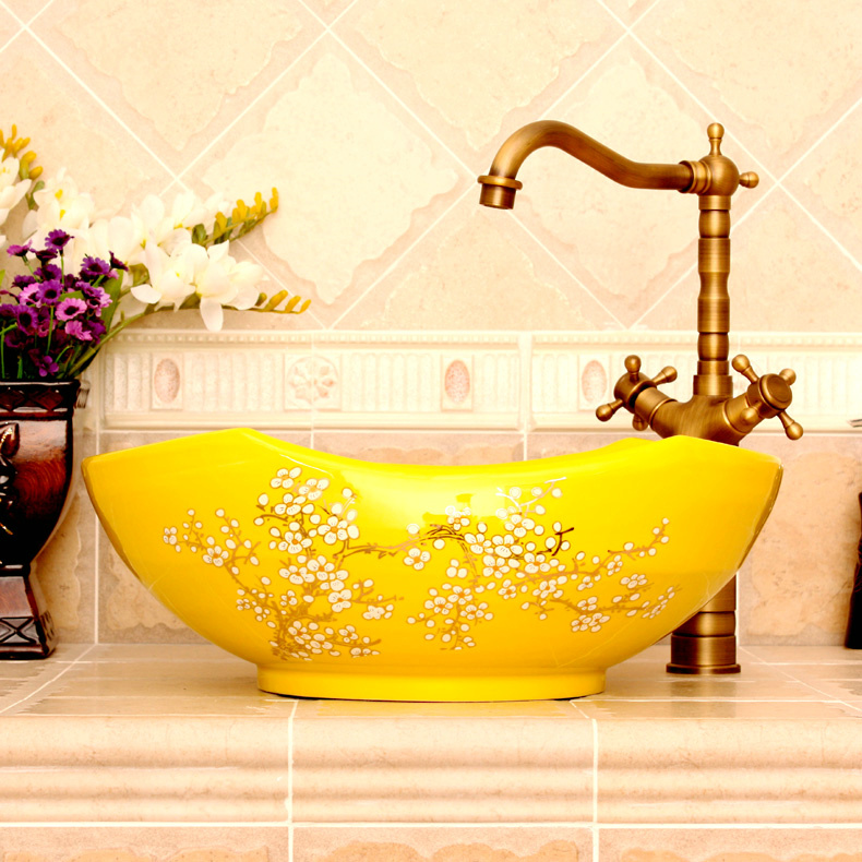 RYXW680_2 RYXW670 Yellow with floral design Porcelain bathroom vessel sink - shengjiang  ceramic  factory   porcelain art hand basin wash sink