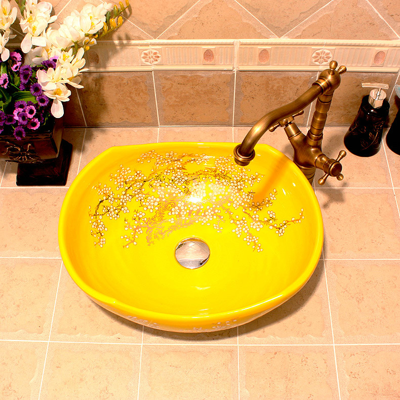 RYXW680_4 RYXW670 Yellow with floral design Porcelain bathroom vessel sink - shengjiang  ceramic  factory   porcelain art hand basin wash sink