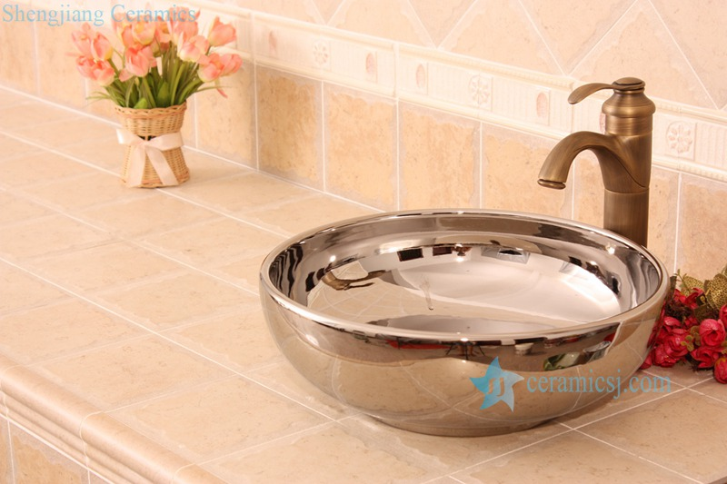 RYXW693-R8002 RYXW693 Single layer silver mirror glazed simple style counter top sink - shengjiang  ceramic  factory   porcelain art hand basin wash sink