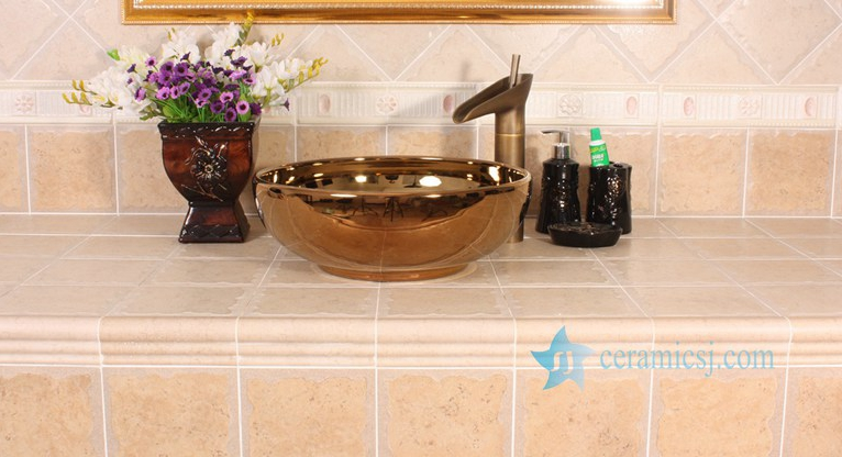RYXW696-R8005-1 RYXW696 Golden mirror glazed ceramic restaurant wash basin - shengjiang  ceramic  factory   porcelain art hand basin wash sink