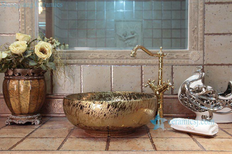 RYXW699-R8008 RYXW699 Gold bright surface wholesale ceramic cabinet top wash hand basin - shengjiang  ceramic  factory   porcelain art hand basin wash sink