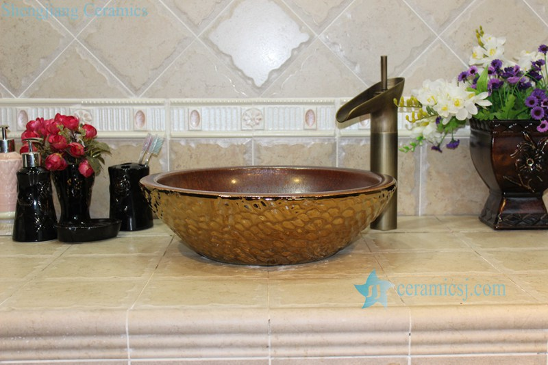 RYXW708-R8018 RYXW708 Rough copper glazed inside golden water wave outside big open mouth basin bowl - shengjiang  ceramic  factory   porcelain art hand basin wash sink