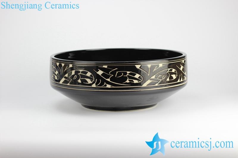 RYXW712_1308 RYXW712 Unique design black ceramic wash face sink basin for hotel - shengjiang  ceramic  factory   porcelain art hand basin wash sink