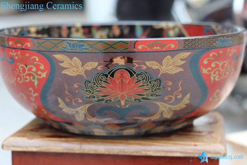 RZCE06_8522 RZCE06 Buddha lotus mark dark color ceramic wash hand basin - shengjiang  ceramic  factory   porcelain art hand basin wash sink
